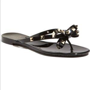 Valentino Rockstud Bow flip-flops 38 black $425